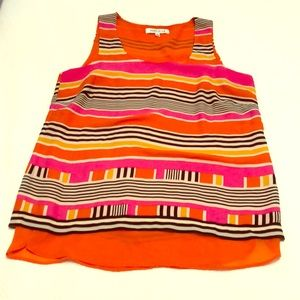 Flowy tank top striped lined polyester washable